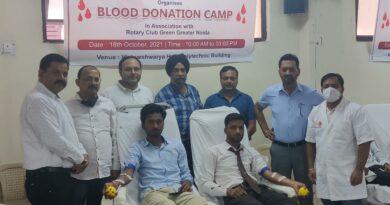 विद्यार्थियों ने किया रक्तदान।
